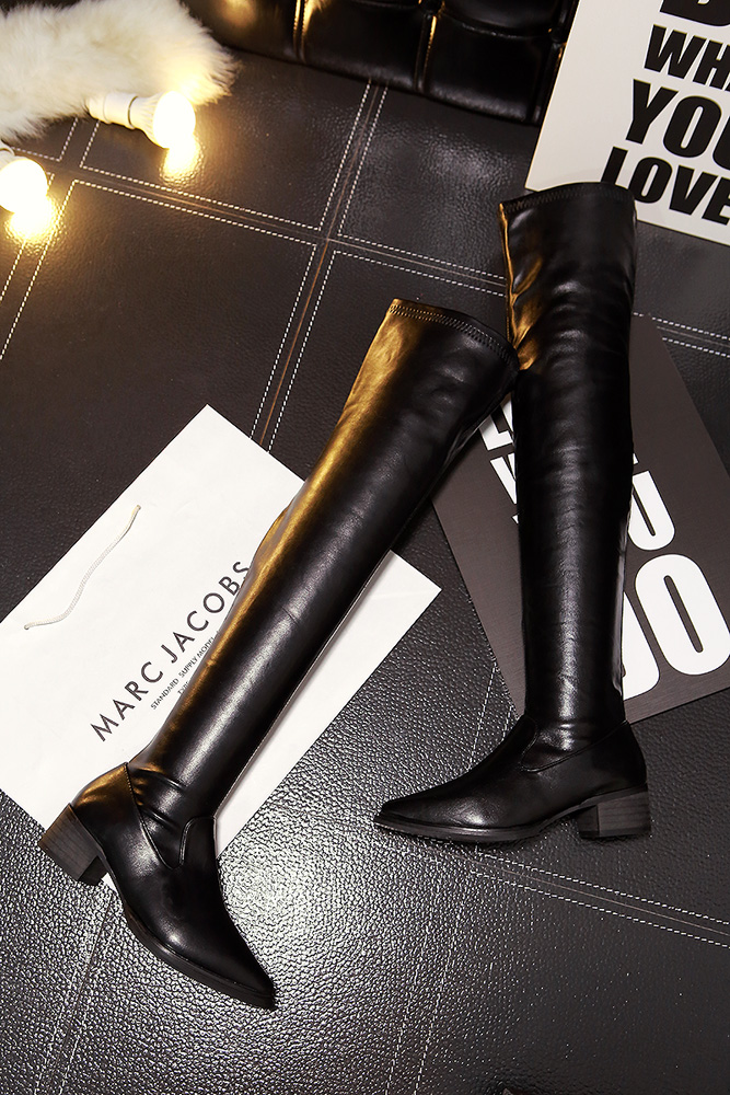 Sexy Women Black Leather Zip Thigh High Boots Slip On 2018 Fashion Over-the-knee Thin Winter Boots Lady Shoes PLUS SIZE 35-40<br>