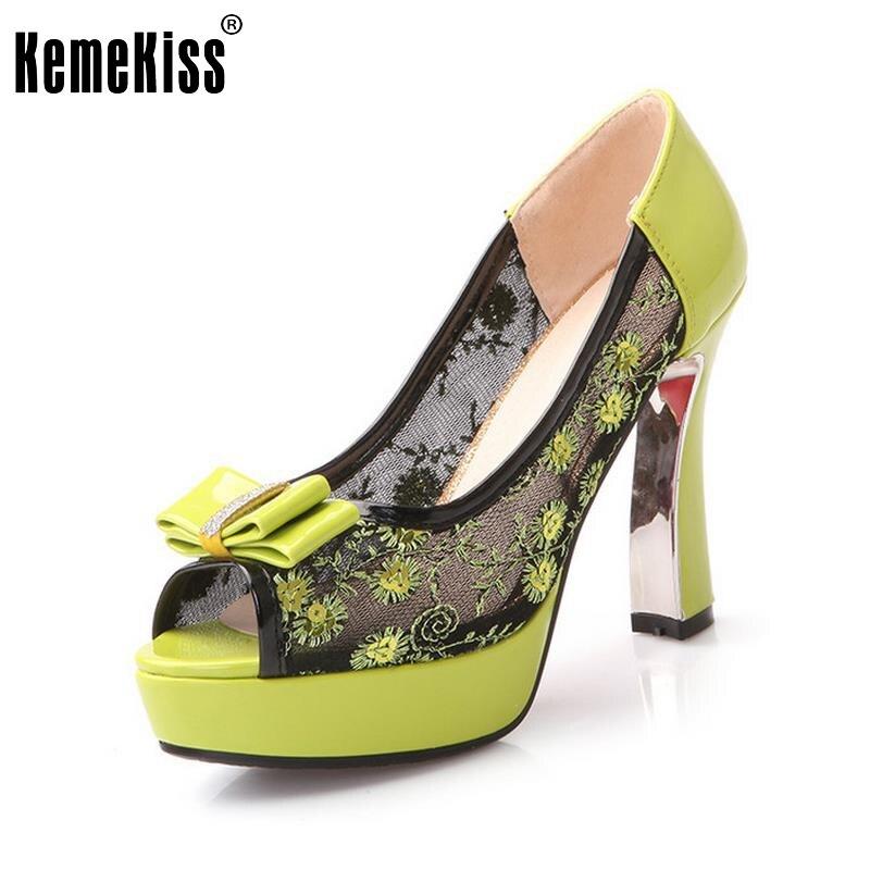 KemeKiss Women Shoes Women Pumps Women High Heeled Pumps Thin Heels Platform Lace Peep Toe Bowtie Female Footwear Size 33-41<br>