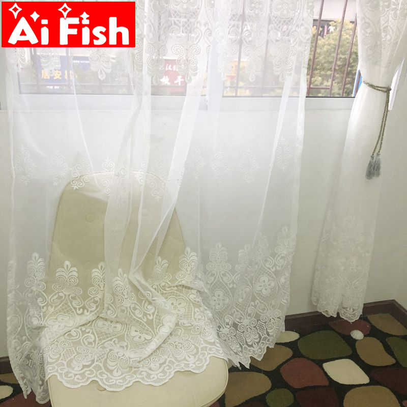 European White Hollow Embroidered Sheer Curtains for Living Room Window Curtains for the Bedroom Lace Luxury Curtains MY047-30