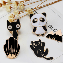 5 Pcs Creative Cartoon Cute Cat Flower Mountain Panda Enamel Pin Needle Woman Broches Scarf Clip Badge Clips Decorative Pins(China)