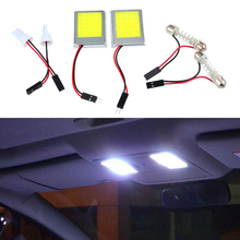 2Pcs 9W T10 COB Car Auto Interior Reading Map Parking Bulb Lamp Cool White 12V LED Interior Festoon Dome Light Wedge Side Bulbs