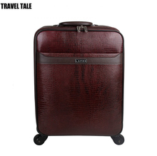 Travel tale 18 inch genuine cow leather suitcase spinner cabin travel luggage bag for men