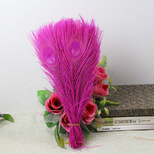 10pcs/Lot natural rose Peacock feathers eyes 25-30cm 10-12 Inchs Peacock plumage art performance clothing plume decoration(China)