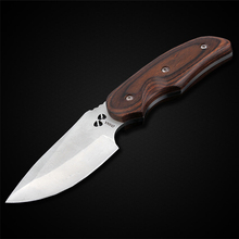 PEGASI Buck Hunting Fixed Blade Knife 7Cr17Mov Steel Red Wood Handle Pocket Outdoor Survival Knives For Outdoor Trips