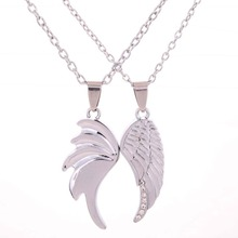Couple Necklaces Silvery Wing Angel Design Lover Pendant Crystal Inlay Jewelry