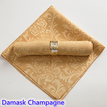 Champagne colour napkins jacquard damask pattern napkin for wedding hotel restaurant table decoration wrinkle stain resistant