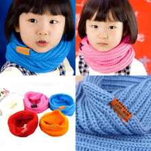 Helisopus Knitted Children's Neck Muffler Autumn Winter Warm Scarf Baby Boy Girls Knitted Scarf Candy Warm Neck Scarves(China)