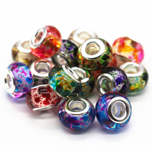 100pcs/lot Mixed Color 14MM Big Hole Loose Acrylic Beads Fit European Jewelry Bracelet Charms DIY(China)