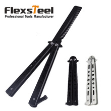 Hot Sale Black Sliver Metal Practice Balisong Butterfly Trainer Training Knife Dull Tool Knife Butterfly(China)