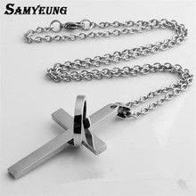 Samyeung Cross 316L Stainless Steel Necklaces for Men Charm Brazil Link Chain Necklace Women Neckless Neclace Mens Jewellery(China)