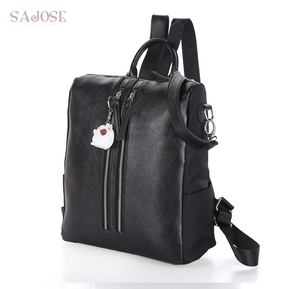 SAJOSE 2017 NEW Preppy style Leather +Nylon Backpack For Fashion Shoulder Lady Womens School Bags Girls Women Black Backpacks<br>