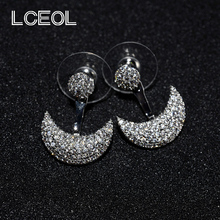 LCEOL  Brand Jewelry Now Trending Drop Earrings Top Quality Moon Design Fashion Accessories Cubic Zircon Earring Birthday Gift