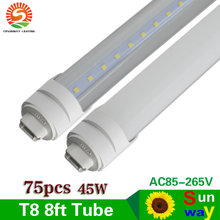 Sunway LED Tube Lamp 8 ft Led Tube Light T8 R17D 2.4m 8ft LED Tube Lights 45W Frosted Clear Cover Replace To Fluoresecent Light(China)