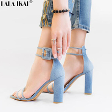 LALA IKAI Women Sandals High Heels Jelly Sandals Open Toe Transparent Perspex Slippers Sandalias Gladiator Casual Shoe 017C0724