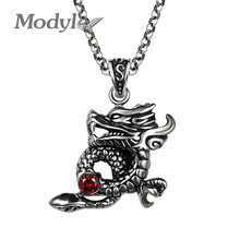 Modyle Men Dragon Necklace Pendant Red Cubic Zirconia Punk Rock Stainless Steel Pendant Necklace for Men and Women