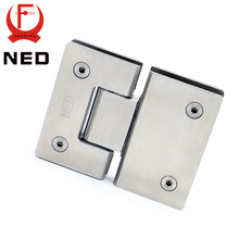 2PCS NED-4904 180 Degree Open 304 Stainless Steel Wall Mount Glass Shower Door Hinge For Home Bathroom Furniture Hardware(China)