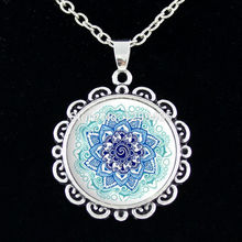 Spiritual amulet Sacred geometry chain Necklace Mandala flower necklace glass cabochon pendant Mandala Religious jewelry C 013
