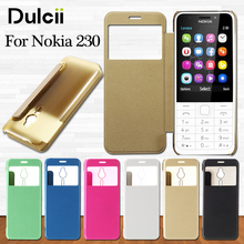 dulcii coque for Nokia 230 Phone Cases Brushed PU Leather View Windows Phone Capa Case Cover for Nokia 230 Bag Shell Cover