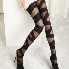 1 pcs Women Sexy Ripped Cut-out Bandage Ultra-thin Tights Elastic Slim Pantyhose Women Sexy Accessory