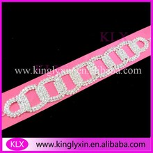 (50pcs/lot) 16.5cm Silver Plating Circle rhinestone connector for bikini ,rhinestone buckles ,the each side will be Shank(China)