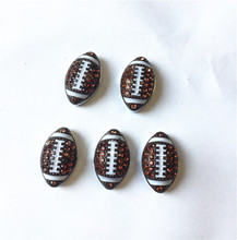 50PCS 8MM Full Rhinestone Football Slide Charms Letters DIY Accessory Fit 8mm Wristband Pet Dog Collars Strips Keychain
