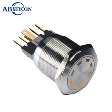 ABBEYCON latching function dot LED light switch 22MM 6V/12V/24V multi point LED ip67 led metal push button switch(China)
