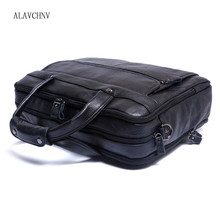 ALAVCHNV leather men's casual briefcase Messenger bag cross-section business cowhide Baotou layer cowhide men's bag handbag g1