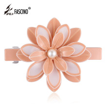 New Fashion Women Hair Accessories Big Flower PVC  Hair Clips Jewelry Girls Simulated Pearl Barrettes Headwear Tiara (DG810024)