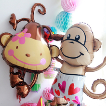 Giant Lucky Monkey Helium Balloon Bouquet Jungle Animal Zoo Theme Birthday Party Oversized Aluminum Foil Hanging fun balloon(China)