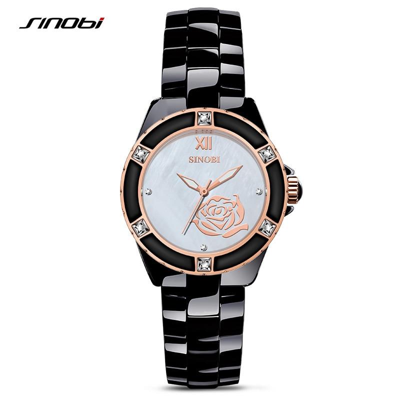 2017 Luxury Brand SINOBI Ladies Vintage Gold Quartz Watch Women Ceramics Fashion Bracelet Watch Gift Relogio Feminino 8118<br><br>Aliexpress