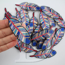 1 PCS Blue Feather parches Embroidered Iron on Patches for Clothing DIY Stripes Clothes Sticker Sew Custom Badges 2.8*7.5 CM @E3(China)