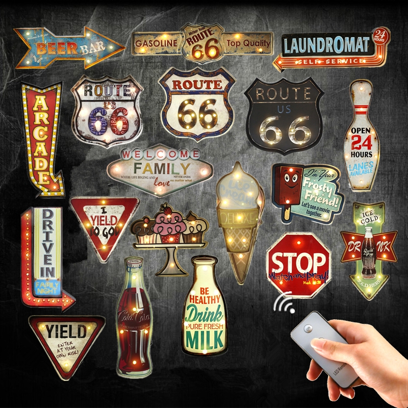 Retro Route 66 Plaque Remote Controller Light Metal Signs For Drink Cola Beer Bar Garage Family Wall Decor Open LED Neon Signs(China (Mainland))