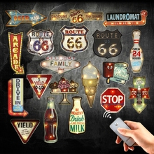 Retro Route 66 Plaque Remote Controller Light Metal Signs For Drink Cola Beer Bar Garage Family Wall Decor Open LED Neon Signs(China)