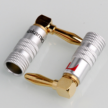 20PCS Angle Speaker Banana Plug Adapter Wire Connector 24K Gold Plated For Musical HiFi Audio