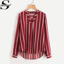 Sheinside Red Striped V-Placket Curved High Low Blouse Women V Neck Long Sleeve Casual Tops Ladies 2017 Work Blouse(China)