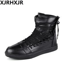2017 High Tops Men Shoes Male Casual Shoes White Red Black Lace Up Student PU Leather Boots Hook & Loop Board Shoes(China)