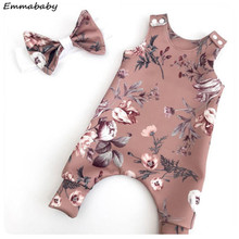 Floral Newborn Baby Girls Clothing Sets Sleevless Printed Rompers Jumpsuit Playsuit Headband Infant Baby Clothes Sets Outfits