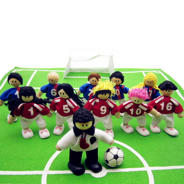 figure Joint Movable Doll Football Soccer Doll Soccer Star Wooden Family Soccer Game  11peaople <br><br>Aliexpress
