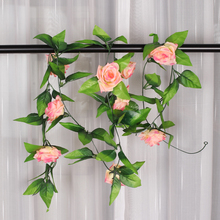 Wholesale 2x Artificial Rose Garland Silk Flower Wedding Home Garden Decoration DIY Fack Peach Decorative Flowers Craft Plants