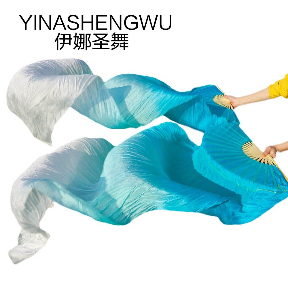 Arrival Tie-dyed Belly Dance Fan Veils for Women long Silk Fan Bamboo Fans Stage