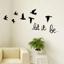 3D Flying birds vinyl wall stickers for kids rooms living room nursery let it be qutoes stickers home decor PVC wall art mural(China)
