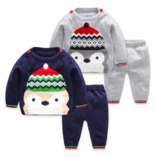 baby boy clothes Newborns 2017 Autumn Winter Warm Wool Long Sleeve Sweater Suit Baby Girl Sets Kids Infant Casual Clothing