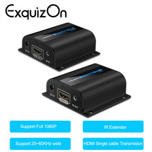 Exquizon 60M LKV372A HD 1080P HDMI Extender Transmitter with IR TX/RX 60cm Ethernet Cable Support HDMI 3D for TV Projector DVD(China)