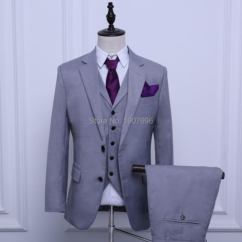 Gray Slim Fit Mens Suits for Wedding Notched Lapel Male Blazer Three Piece Jacket Pants Vest Custom Men Clothing 2018