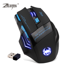 Zelotes F14 LED Optical Computer Mouse Wireless 2.4G 2400 DPI 7Buttons USB Receiver Gaming Mause Mice for PC Laptop Gamer Games