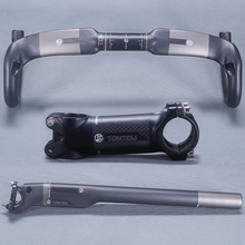 Buy Tomtou High Bicycle Handlebar Set Carbon Fiber Handlebars + Seatpost Breaking Wind + Stem Road Bike Parts TP5T67 for $77.98 in AliExpress store