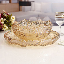 Some special high-grade plum fruit fruit bucket crystal glass suit two pieces of fruit candy dish dry fruit style(China)