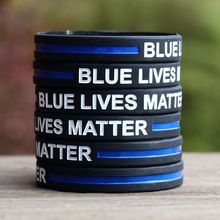 3PCS Blue Lives Matter Wristband for adults Police Officers Patrol Awareness Support and Outdoor Sports(China)