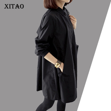 [XITOA] 2016 new autumn Korea fashion women loose black color blouses casual female long sleeve turn down collar shirt LYG001