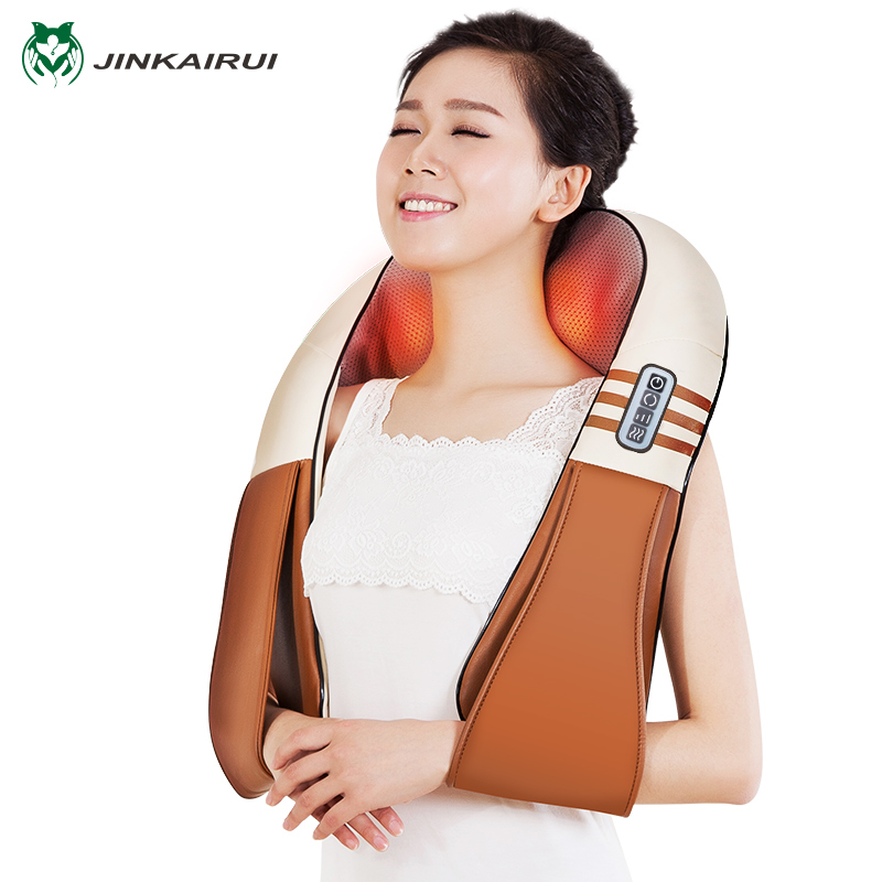 (with Gift Box)JinKaiRui U Shape Electrical Shiatsu Back Neck Shoulder Body Massager Infrared Heated Kneading Car/Home Massagem <br>